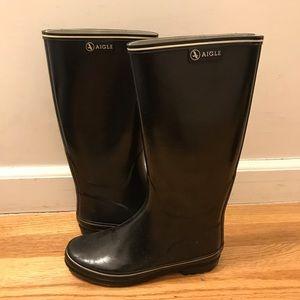 Aigle black rain boots